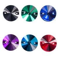 Qiao aaaaa colorido 8-16mm rivoli forma redonda cristal vidro costurar-em strass para sacos, vestuário, sapatos, decoração do vestido de casamento