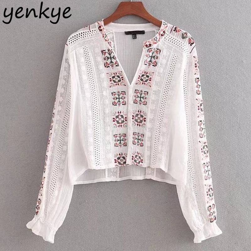 Women Floral Embroidery Summer Blouse Long Sleeve V Neck Crepe White Shirt Brand