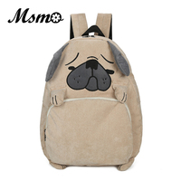 2016 Japanese Style Women Larger Capacity Corduroy Backpack Cute Cartoon Animals Backpack High School Students Bag