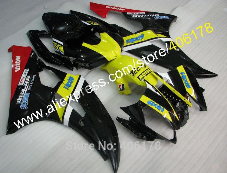 Горячие продаж,2006-2007 и YZF-R6 в обтекатель для YAMAHA YZF600 R6 В И YZF-R6 в 06-07 и YZF 600 Полини мотоцикл обтекатель комплект (литья под давлением)