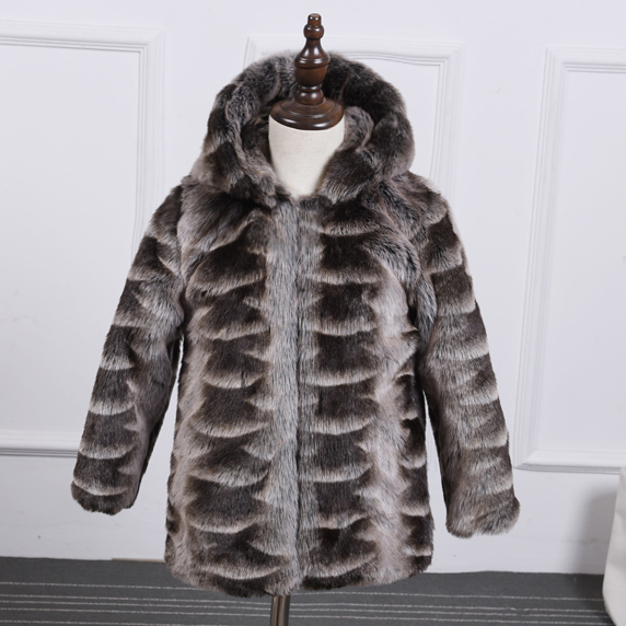 2016 new winter girl and boy furry jacket coat thick warm hooded fur coat Faux mink