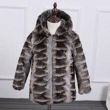 2016 новый зимний девочка и мальчик пушистый куртка пальто толстый теплый с капюшоном шуба Из Искусственного норки пальто 000158