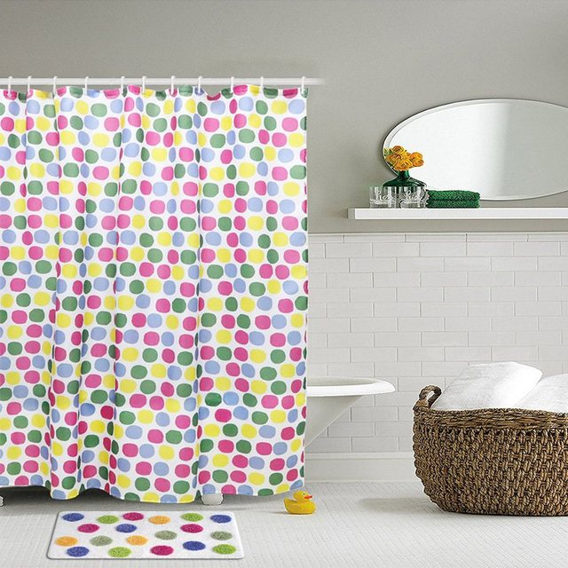 180x180cm Polka Dots Shower Curtain With 12 Hooks Waterproof ...