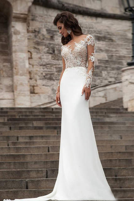 0843a61ba2 placeholder Sexy Sheer Long Sleeves Lace Wedding Dresses 2019 Milla Nova  Beach A Line Sweep Train Button