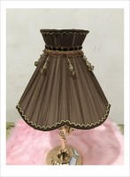 coffee color Lampshae for table lamp flower Pattern lace Textile Fabrics Decorative lamp shade