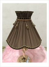 coffee color Lampshae for table lamp flower  Pattern lace Textile Fabrics Decorative shade