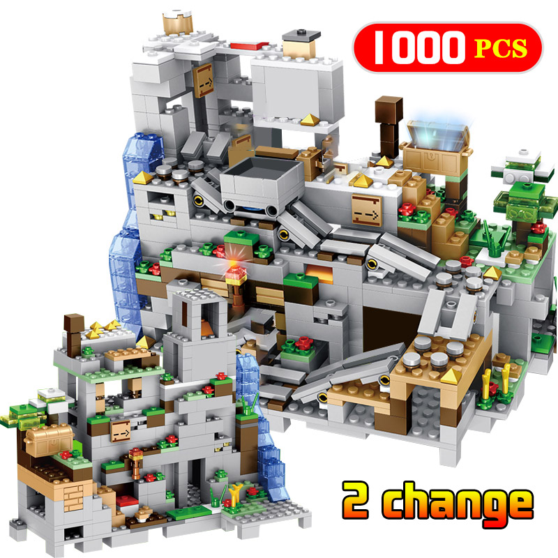 <font><b>1000pcs</b></font> Mechanism The Mountain Cave Model Building Blocks Series Figures Bricks Sets Toys for Boys image
