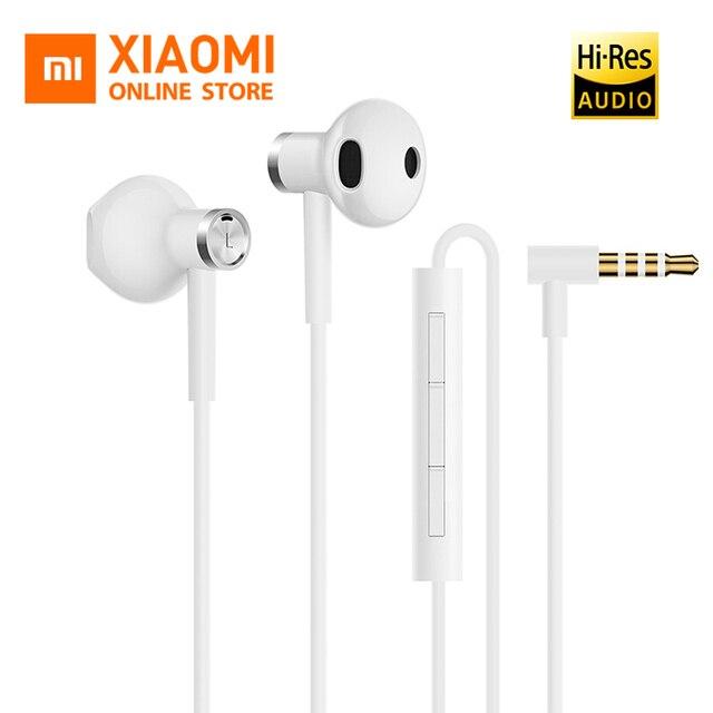 Nieuwe Originele Xiaomi Dual Driver Oortelefoon Half-In-Ear Dynamische piezoCeramic Hybride DC MEM Mic Vasthoudendheid Draad Controle l-Vorm Plug