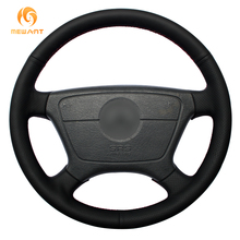 Black Genuine Leather Car Steering Wheel Cover for Mercedes Benz E-Class W210 E 200 240 280 320 1995-2002 W140 S320 350 420 1991