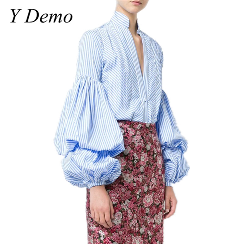 Y Demo New Loose Lantern Sleeve Blue Stripe Shirt Fashion V Neck Sexy Women Blouse 2018 Spring