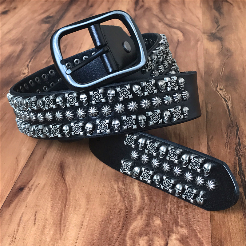 Remache de Metal pesado Cowboy Punk cinturón cuero genuino cráneo Jeans  cinturones para hombres Vintage Correa Ceinture Homme Correa masculina  MBT0517 en ... 9840b5b72d87