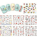 1 hoja nuevo Nail Art Water Transfer diseño dulce carta de amor Tip Nail Art Sticker Decal manicura decoración herramientas BLE2524-2534