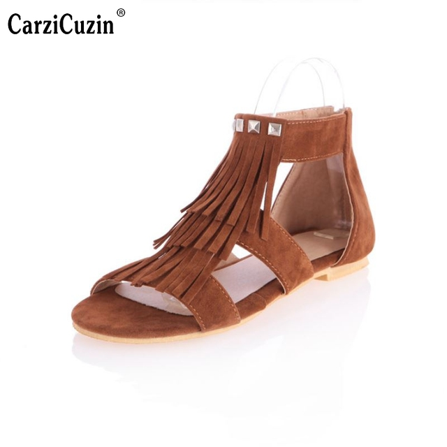 5731bebaa Rome Style Tassels Rivets Sandals sapatos femininos sandalias femininas  flat sandal Women Casual Shoes Flats Size 30-43 PA00316