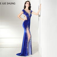E JUE SHUNG Royal Blue Velvet Mermaid Evening Dresses Long Crystals Backless Luxury Evening Gowns Prom Dresses robe de soiree