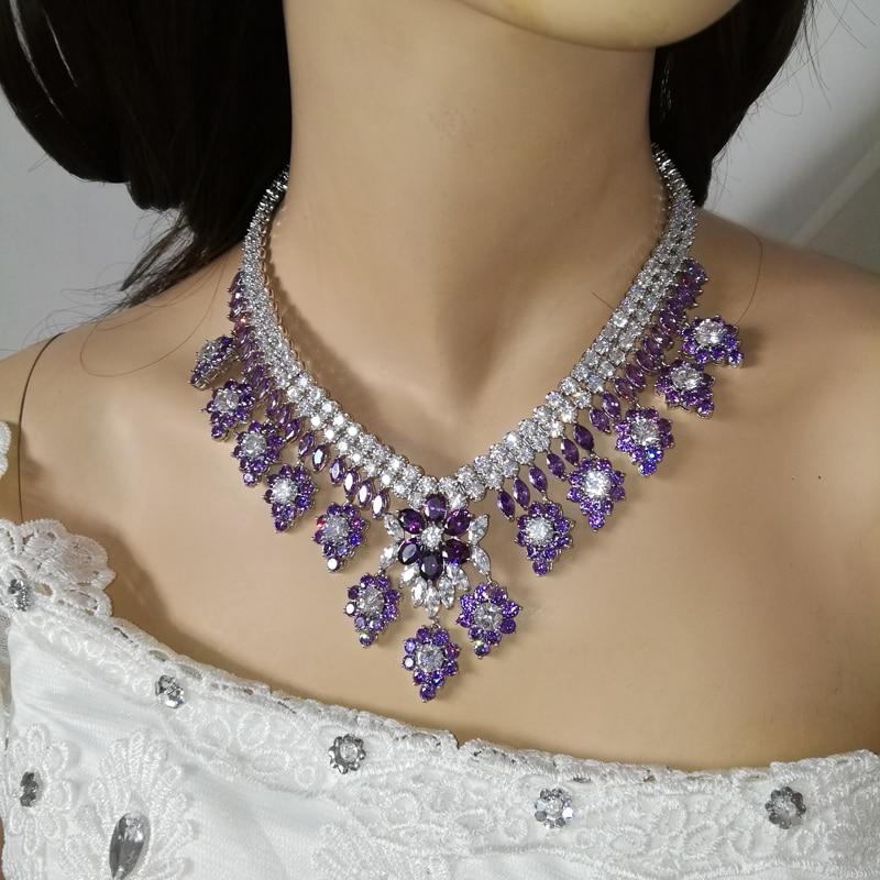 2019 noua moda de lux retro romantice violet flori violet colier - Bijuterii de moda - Fotografie 6