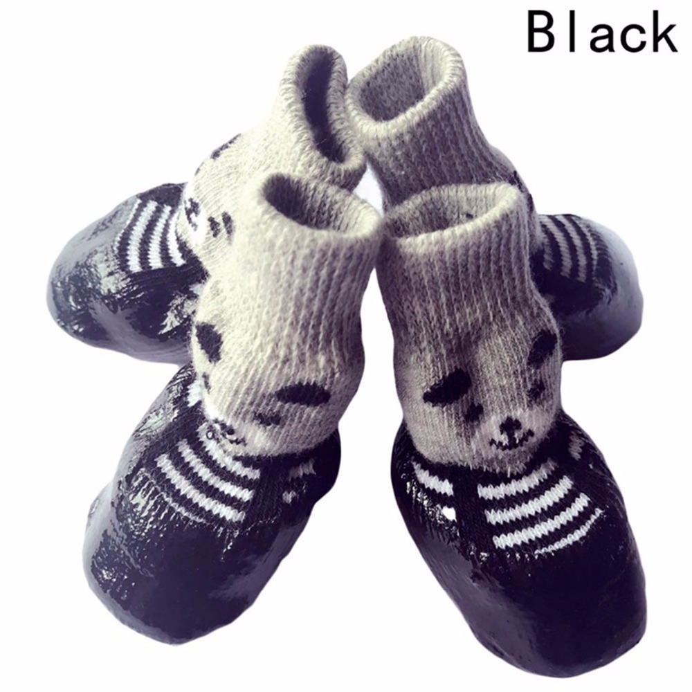 4pcs/set S M L Size Cotton Rubber Pet Dog Shoes Waterproof Non-slip Dog Rain Snow Boots Socks Footwear For Puppy Small Cats Dogs