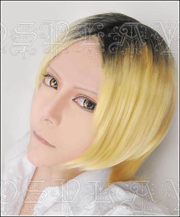 Anime Haikyuu!! Kenma Kozume Cosplay Wigs Short Blonde And Black Heat Resistant Synthetic Hair Wig + Wig Cap