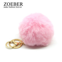 8CM Fur PomPom KeyChain faux leather fake Rabbit Hair Bulb Bag pom pom Ball key chain Pendant porte clef women Lovely Fluffy(China)