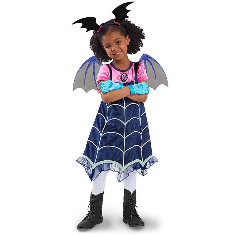 Kids Girls Vampire Dress Cosplay Costumes Hair Band Princess Dresses Children Birthday Party Fantasy Halloween Vampirina Moana