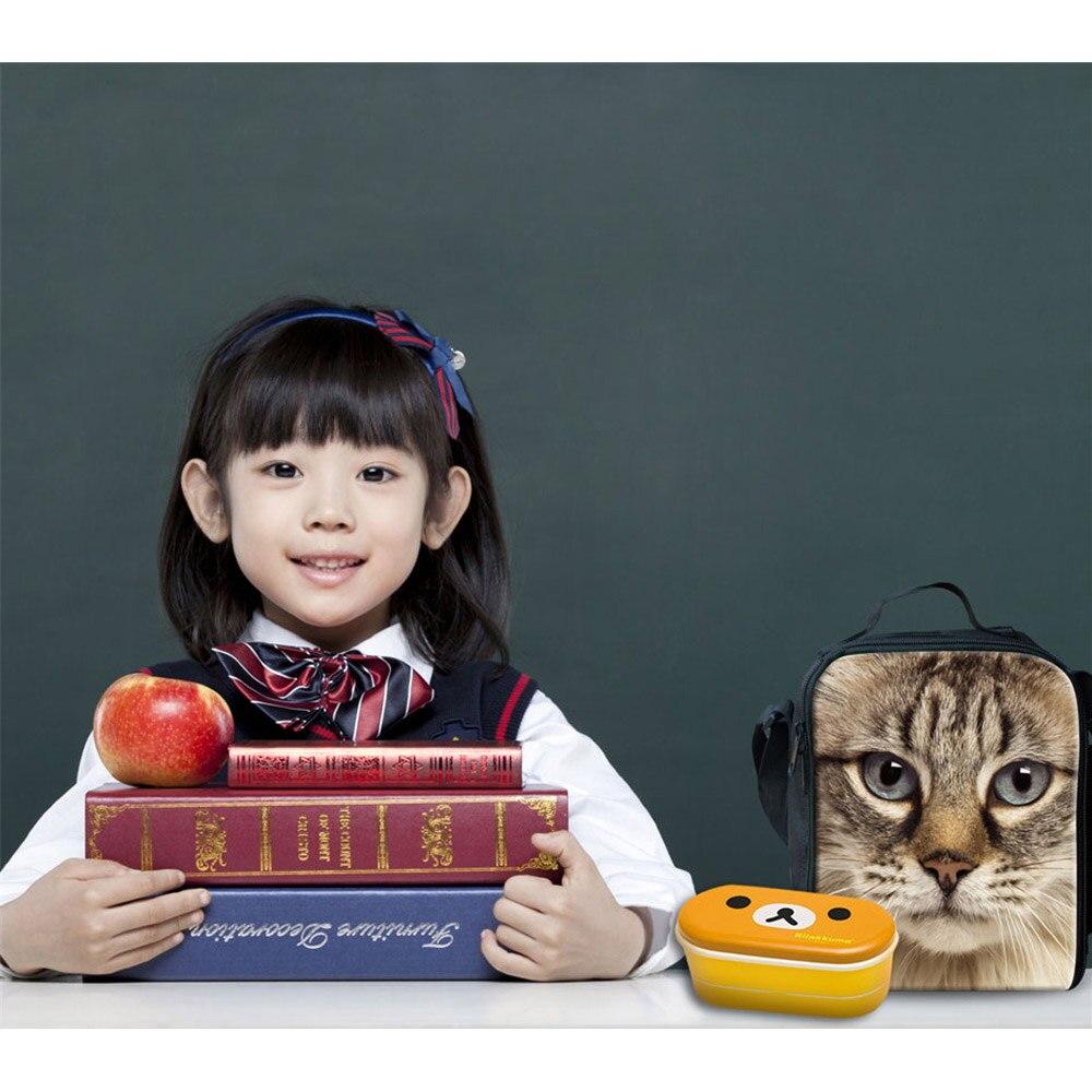 Noisydesigns Insulated Lunch Bag for School Pet Cat Kids Cute Lunch Bags Women Animal Cat Children Kids Thermal Bag Lunch Bolsa