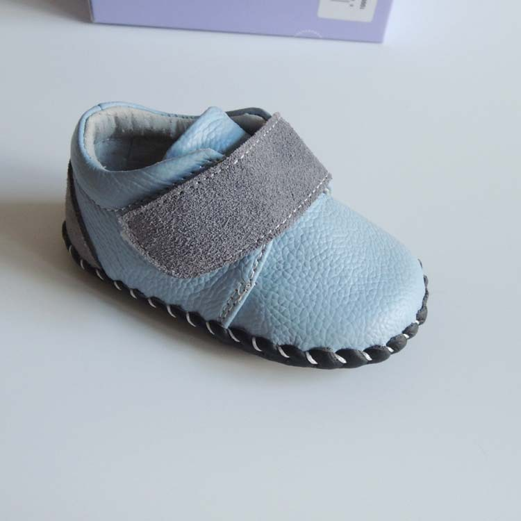 Blue White Color Kids Genuine Leather Shoes Soft Toddler Shoes for 12-24M Baby