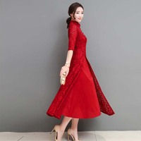 2018 Spring Elegant Retro Chinese Traditional Dress Silk Cotton Cheongsam female lady wedding Chinese Oriental vietnam ao dai