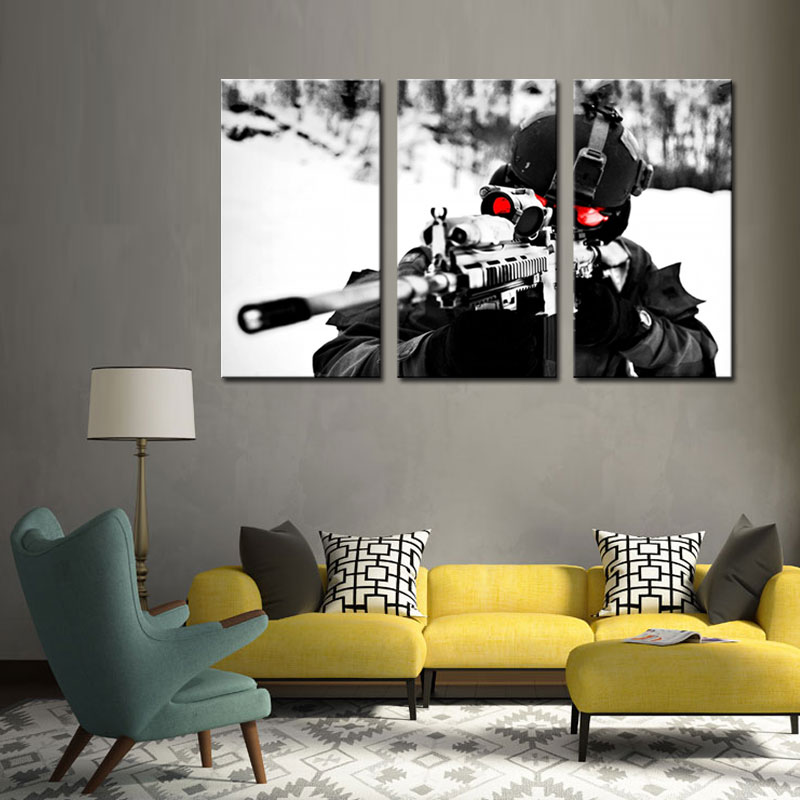 3 Picture Combination Wall Art Painting Sniper Aim