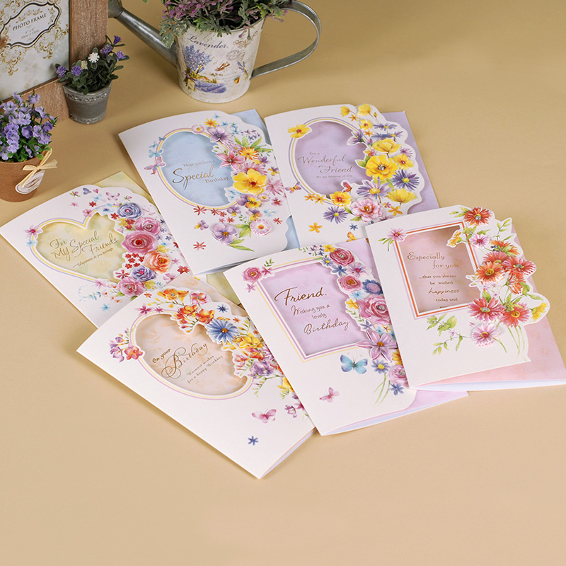 6 Sets Of Beautiful Flower Friend Birthday Greeting Cards With Envelope