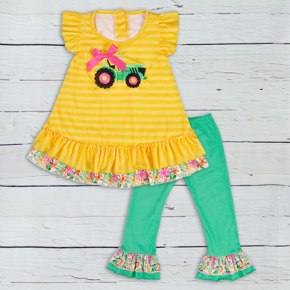 Popular Summer Kids Boutique Cotton Clothing Yellow Stripes Tractor Top Green Ruffle Pants Girls Outfits  2GK806-380