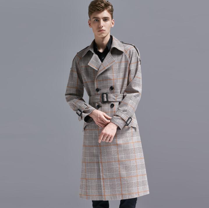 Livraison gratuite 2018 automne hiver lâche longue tranchée manteau hommes pardessus à manches longues mens Revers vêtements affaires vêtements grande taille