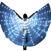 Women LED Light Isis Wings Belly Dance Costumes 360 Degree Sticks Performance Dancing Supplies Props MX8