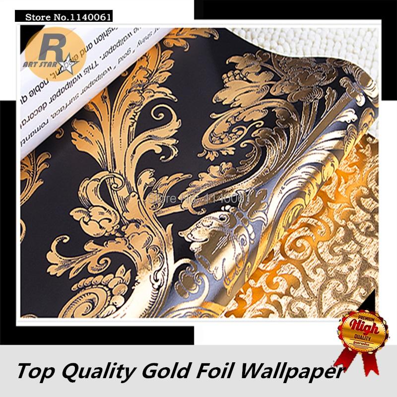 Роскошный Дамаск узор черный и золотой Цвет обоев для Гостиная Спальня золото Фольга обои