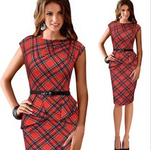 Spring Lady Vintage Tartan Red New Year Fitted Dress O Neck 3 4 Sleeve Belt Peplum