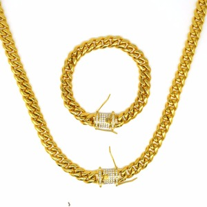 Image 5 - UWIN 10mm Men Cuban Miami Link Necklace Stainless steel Rhinestone Clasp Iced Out Gold silver color Hip hop Chain Necklace 76cm