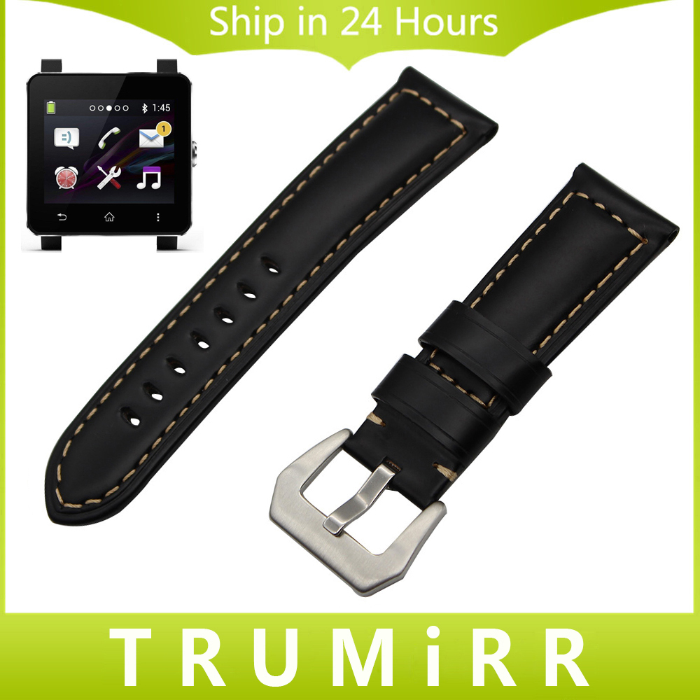 24mm Calf Genuine Leather Watch Band for Sony Smartwatch 2 SW2 Wrist Strap Stainless Steel Tang Buckle Blet Bracelet Black Brown комбинезоны эротик passion комбинезон чаровница