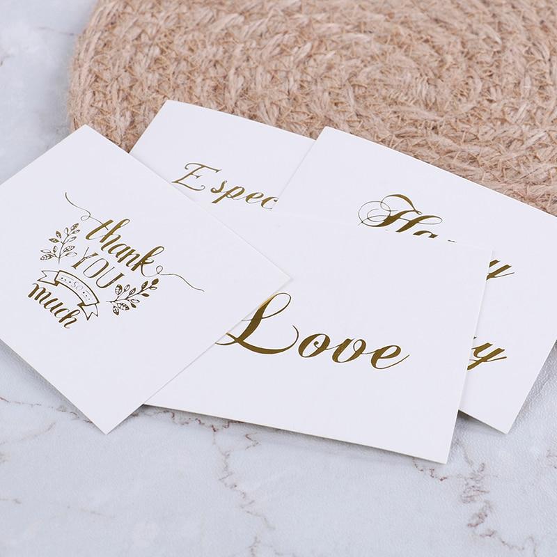 Stupendous 10Pcs Mini Gold Embossed Thank You Card Valentine Happy Birthday Funny Birthday Cards Online Fluifree Goldxyz