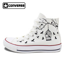White Converse All Star Hand Painted Canvas Shoes Women Men Design Bird Cage Sneakers Flats High
