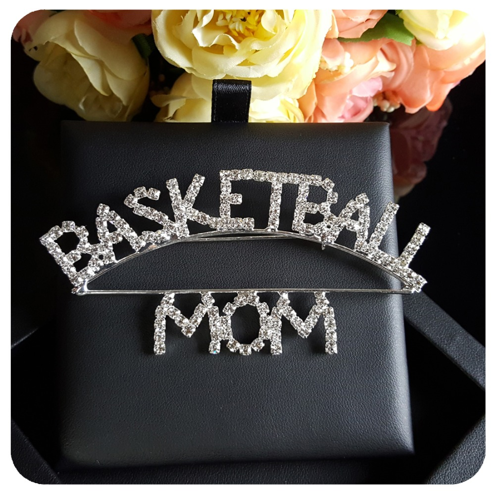 Sport Mom Theme Blingbling Crystal Brooch quot BASKETBALL MOM quot Pin Jewelry in Brooches from Jewelry amp Accessories