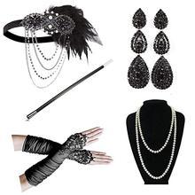 1920 Для женщин в винтажном стиле Гэтсби головные уборы с перьями Хлопушки костюм аксессуар мундштук жемчужное ожерелье Перчатки набор для всей поверхности