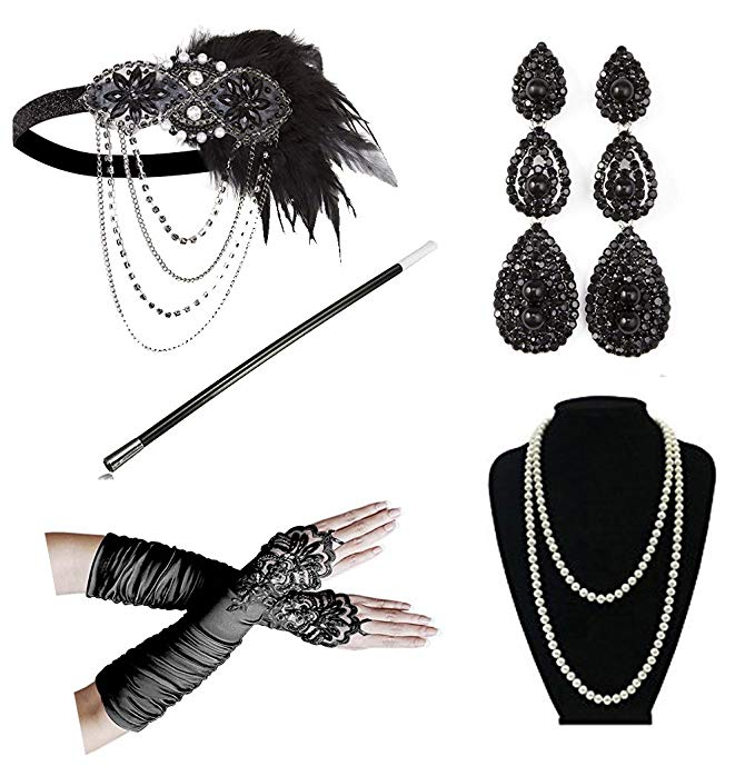1920 Women's Vintage GATSBY Feather Headbands Flapper Costume Accessory Cigarette Holder Pearl Necklace Gloves Set Hair
