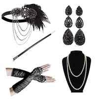 1920 femmes vintage GATSBY plume bandeaux clapet Costume accessoire étui à cigarettes perle collier gants ensemble cheveux
