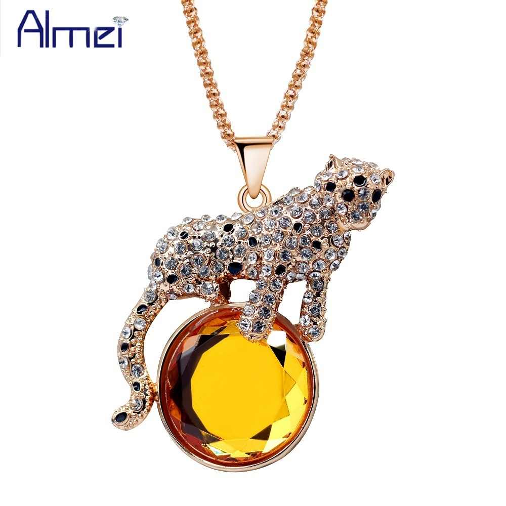 Almei Charm Big Black White Leopard Rising Sun Enamel Long Sweater Chain Crystal Animal Pendant Necklace Christmas Gift YS842