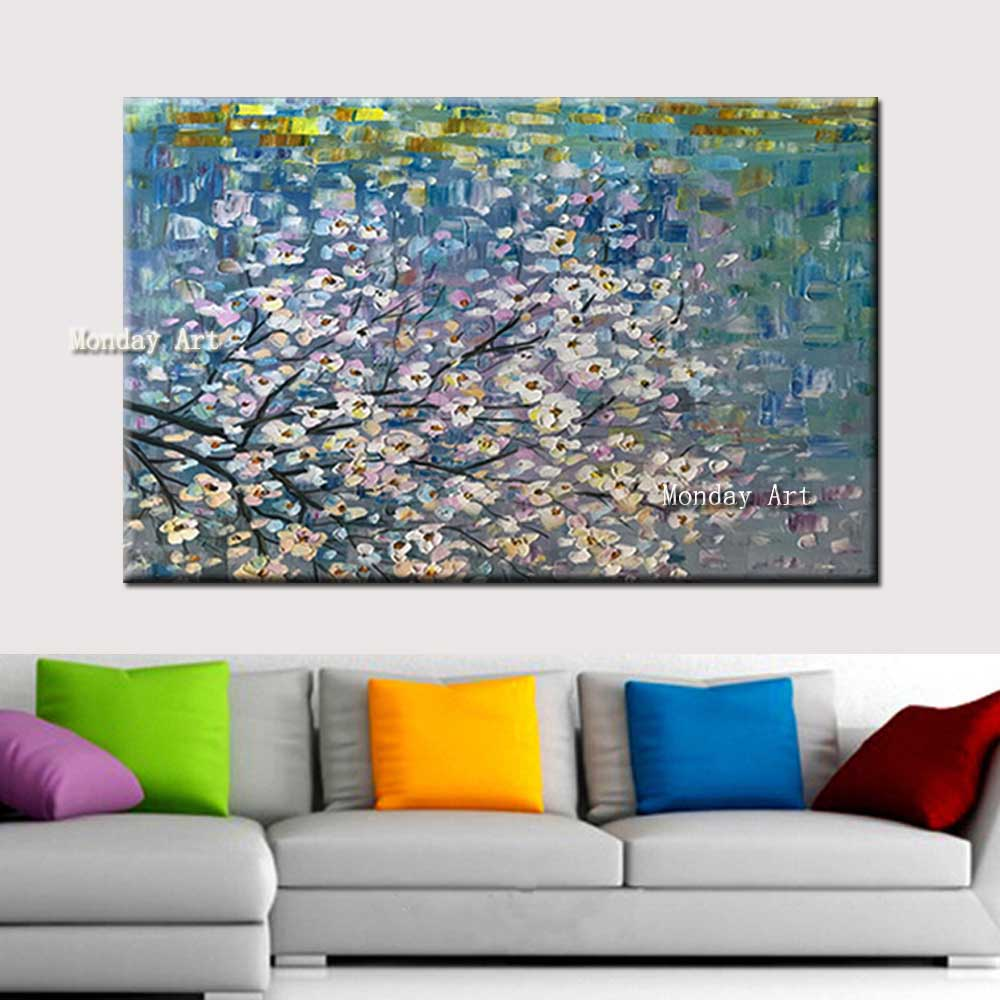 Hand-Painted-Canvas-Oil-Painting-Thick-Impasto-Pink-Flower-Tree-Wall-Canvas-Picture-Living-Room-Home (4)