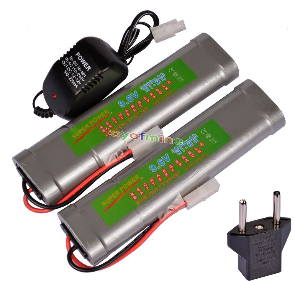 2x 9.6V NiMH 3800mAh Rechargeable Battery Pack Tamiya Plug + Charger Plug аккумулятор c ansmann maxe c4500 4500 mah bl2 nimh 2 штуки 5035352