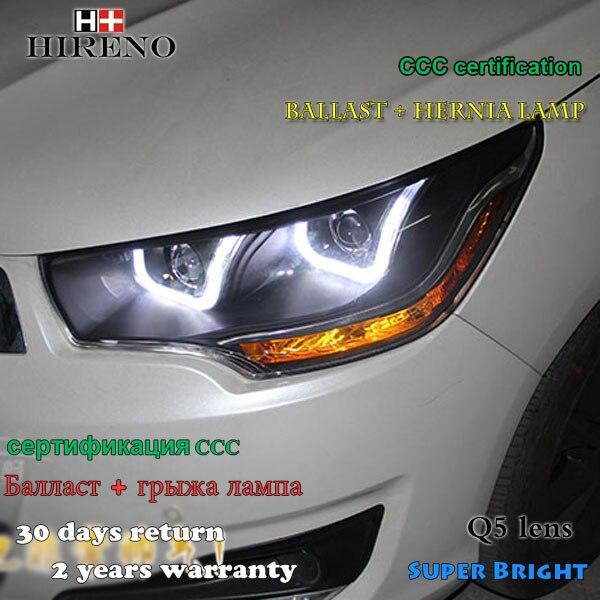Hireno Headlamp for 2012-2015 Citroen C4L Headlight Assembly LED DRL Angel Lens Double Beam HID Xenon 2pcs 2pcs purple blue red green led demon eyes for bixenon projector lens hella5 q5 2 5inch and 3 0inch headlight angel devil demon