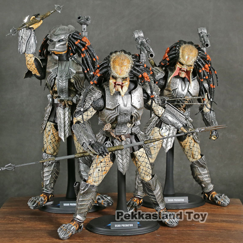 Hot Toys MMS 190 Alien vs. Predator AVP Scar Predator PVC Action Figure Collectible Model Toy 35cm