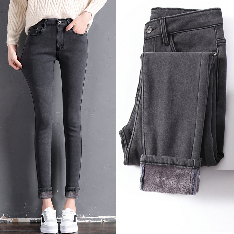 54e4702aa76 Winter Thicker Woman s Jeans High Waist Plus Velvet Pencil Pants Large Size  Stretch Pants Women Casual Warm Trousers mom jeans