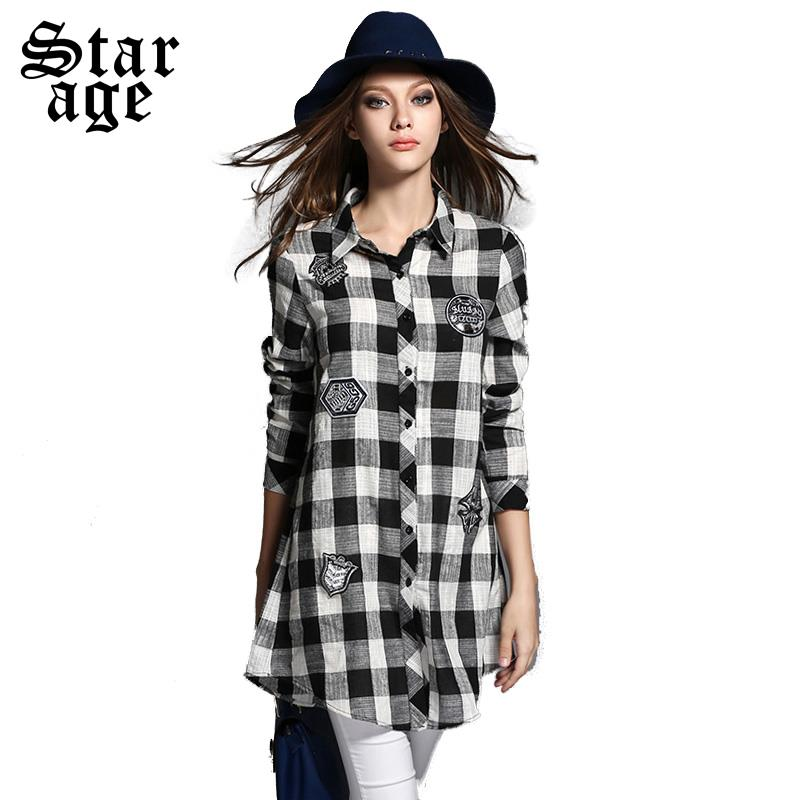 L 5XL Ladies Long Shirt Big Size Plaid Single Breasted Long Sleeve ...