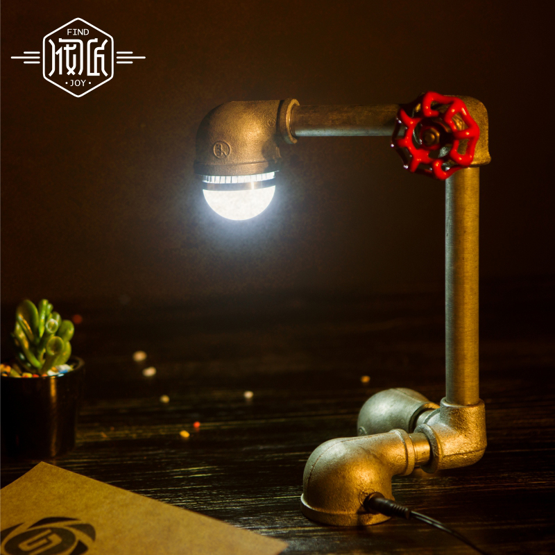 LED Vintage Water Pipe Table Lamps For Bedroom Living Room Loft style Industrial Beside Desk Lamp Lamparas Luminaira De Mesa loft led light iron pipe lamp bronze water pipe desk lamps table lamps decorate study room bedroom cafe bar fj dt1s 012a0