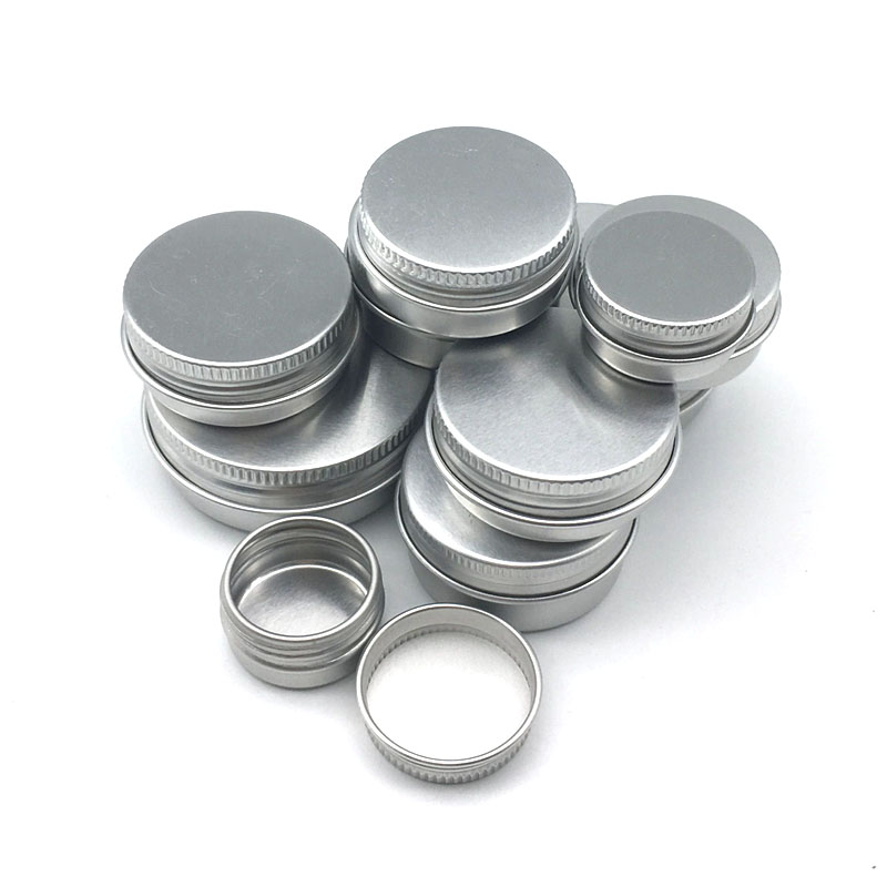 5Pcs 5g/10g/15g/20g/30ml Empty Aluminum Jars Refillable Cosmetic Bottle Ointment Cream Sample Packaging Containers Screw Cap
